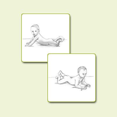 Bleistiftzeichnung Babys in Bauchlage