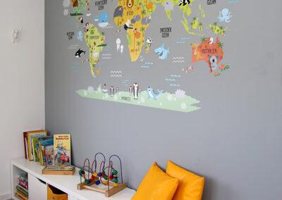 Kinder-Weltkarten-Tapete & Regal